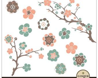 Flower Cherry Clipart, sakura clip art digital file for scrapbooking DIY invitation