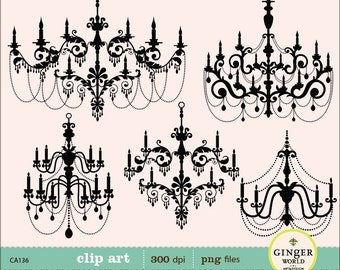 Chandelier Clip art, digital illustration, scrapbooking, DIY invitation clipart (CA136)
