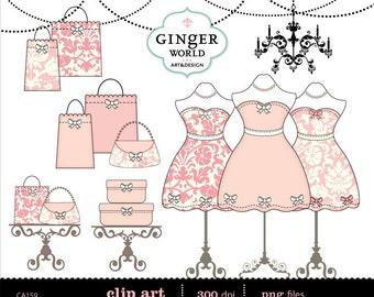 Fashion dress, dressing room clipart, shopping bag, dress form, mannequin