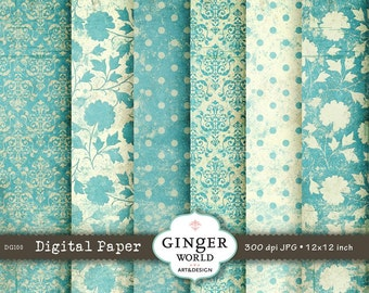 Vintage turquoise Digital Paper Grunge Texture for scrapbooking DIY invitation (DG100)
