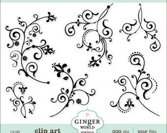 Flower Flourish clipart, Swirl Decorative clip art (CA180)