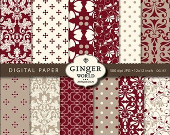 Christmas Gold red damask Digital Paper Pack for scrapbooking invitation