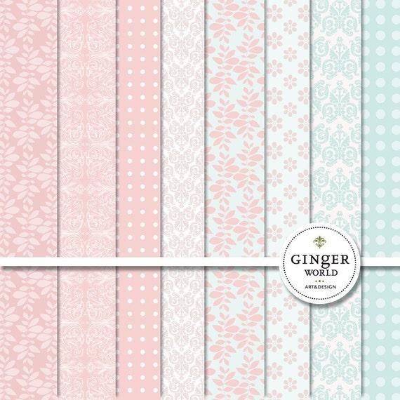 Pink Blush Digital Paper pack for scrapoobking DIY invites (DG008)