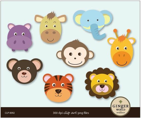 Safari Animal Monkey Lion Tiger Elephant Clip art by ...