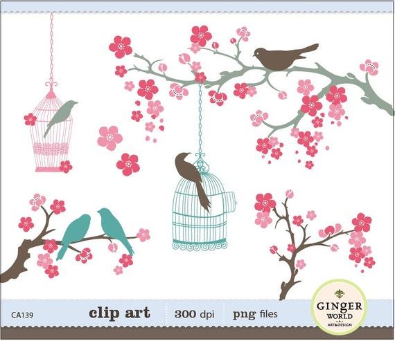 Cherry flower, birds clipart, bird cage clip art, lovebirds clipart, sakura clipart