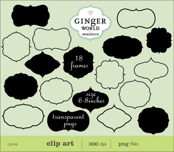 Label Frames Clip art digital illustration for scrapbooking invitation CU - instant DOWNLOAD (CA149)
