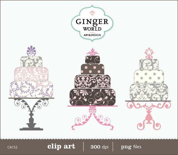 items similar to pink sorbet wedding cake clip art digital