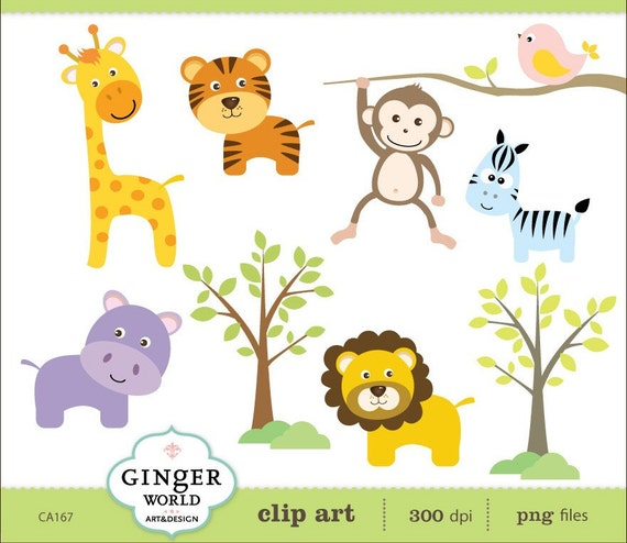 Safari Animal jungle clip art Monkey Lion Tiger zebra giraffe  (CA167)