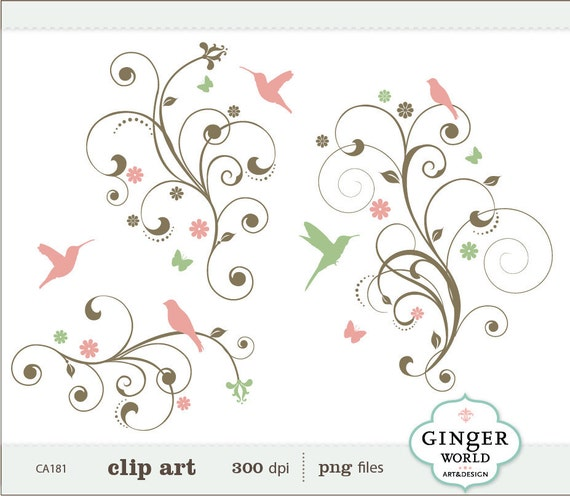 SALE Bird Tree Flower Flourish Swirl Decorative clip art (CA181)