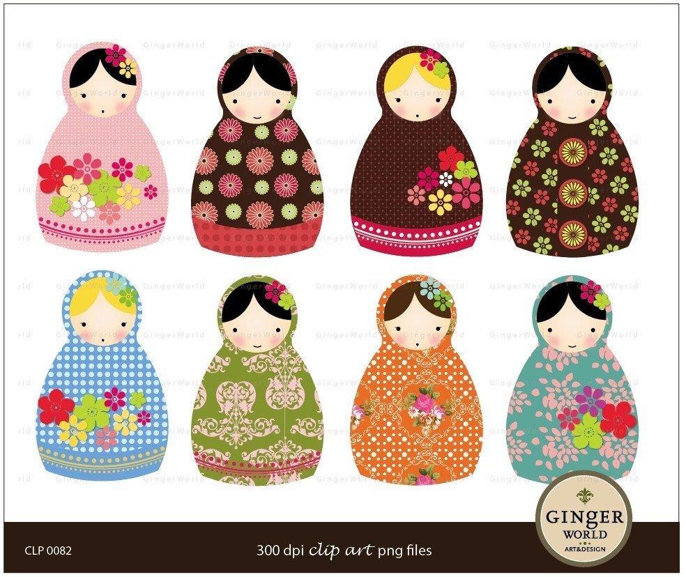 Russian Doll Matryoshka clip art digital file by GingerWorld