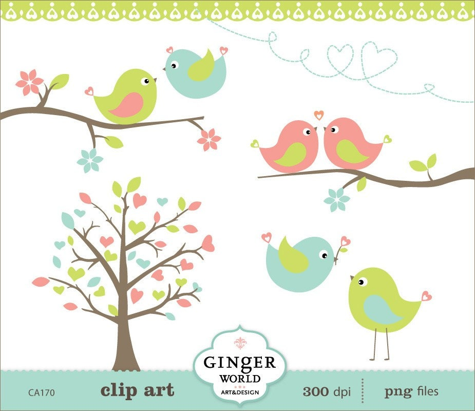 Spring Turquoise Kissing Love Birds Forest Clipart Digital
