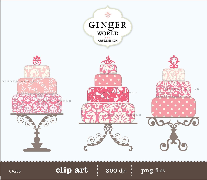 pink Wedding Cake clip art digital illustration by GingerWorld