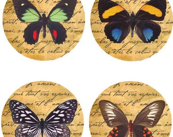 Digital 30mm  Circle Pendant Artwork-Vintage Butterfly No. 60 Instant Download