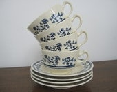 Vintage Coffee Cups Tea Saucers Ceramic Set Homer Laughlin Sturbridge