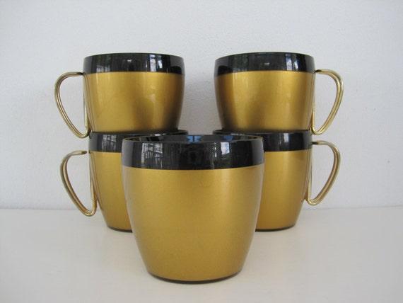 Mugs Cups Set Thermo Serv Gold Black Mid Century Modern Retro