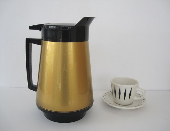 Carafe Thermo Serv Large Mid Century Gold Black