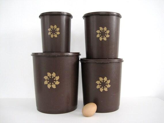 Vintage Tupperware Canister Set Servalier Brown 1970s