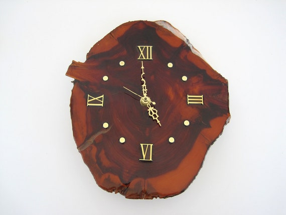 Vintage Wall Clock Burl Wood Slab Battery Operated Mid Century