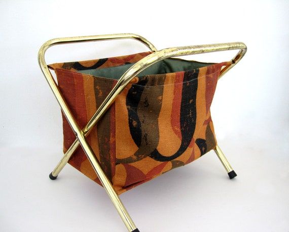 Vintage Knitting Tote Bag Basket Folding Stand Storage Toys Sewing Crafts