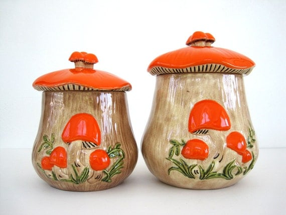 Vintage Canister Set Ceramic Kitchen Orange Mushroom