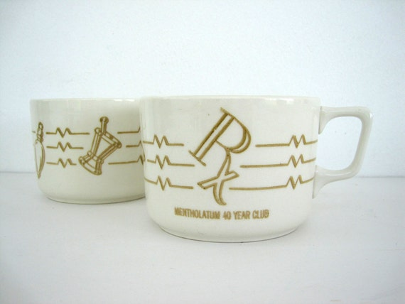 Vintage Coffee Cups Ceramic Mentholatum 40 Year Club Rx Advertising