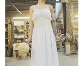KC Uma Waner silver and white mettalic bust ruffle wedding dress