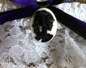 KC purple and black ribbon black and white Skull Cameo Lace Wedding Garter