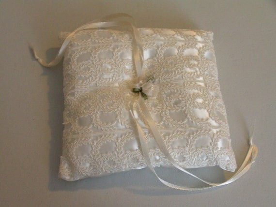 Wedding ring bearer pillow in satin and lace ribbon flowers