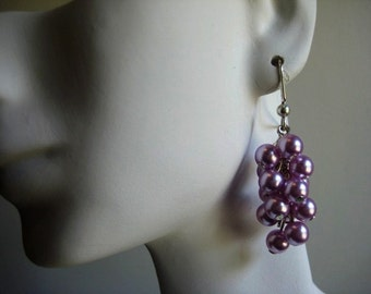Lilac Pearl Cascade Earrings