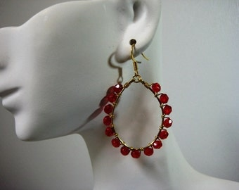 Fiery Red and Gold Wire Wrapped Hoop Earrings