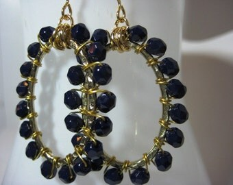 Navy Blue Crystal Wire Wrapped Gold Oval Hoop Earrings