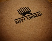"recycled brown bag holiday card - ""happy kwanzaa"""