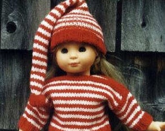 Knitting Pattern for 18 inch doll  American Girl Sweater and Hat PDF