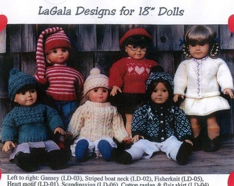 3 Knitting Patterns for 18 inch Doll / American Girl - You Choose PDF