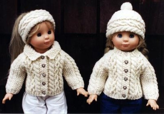 Knitting Patterns For 17 Inch Dolls : 18 inch Doll Knitting Pattern Aran Raglan fits American Girl