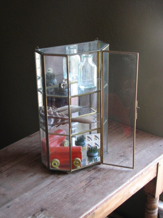vintage mini glass brass curio cabinets