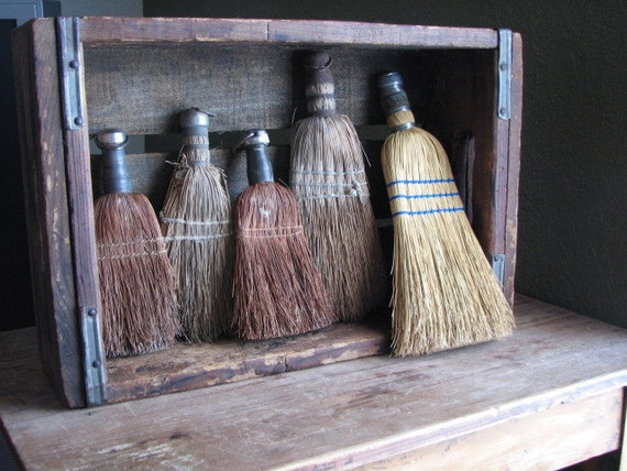 Colleciton of Five Whisk Brooms - Wall Hanging - Vintage Display - Wisk Hand Brooms Decor