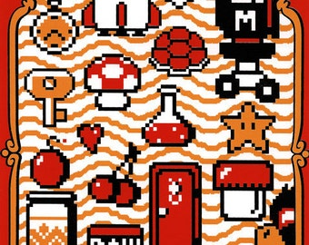 "The Essentials for Fun (Super Mario Bros. 2 inspired Silkscreen Print) - 8"" x 10"""