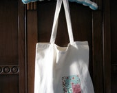 RESERVED appliqued cotton tote bag