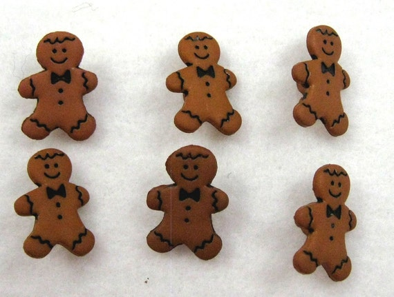 Twelve Gingerbread Men Buttons