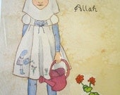 Batool says Thank You Allah - kids decor- painting - vintage inspired islamic art for kids