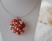 Crochet Pendant Round Coralls and Perls d35-50mm (to order a new)