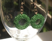Earrings Crochet With Green Bagel On GF14KChain