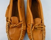 Vintage Leather Fringe Moccasin Slippers 9