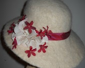 Azalea's Alpaca Off White Hand Felted Flanged Brim Hat with Flowers and Ribbon Band
