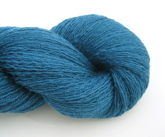 Lace Weight Silk Cashmere Recycled Yarn, Teal Blue, 1150 yards