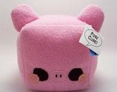 Pork Plush Bouillon Cube Pig Stuffed Toy with pink fleece