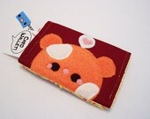 Pudding Hamster Card Wallet fits credit cards buisness cards gift cards with soft kawaii fleece applique