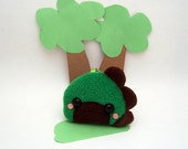 Pudding Earth Dragon Plushie Keychain stuffed toy in green soft fleece