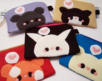 Kawaii Animal Coin Purse Mouse Cat Bunny Hamster or Dog cell phone holder